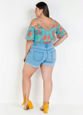 Blusa Ciganinha com Tiras Plus Size (Floral)