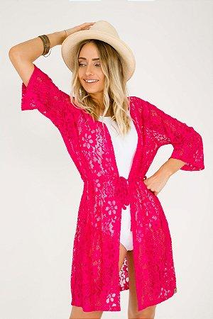 Saída de Praia  Feminina Kimono Renda Rosa Pink
