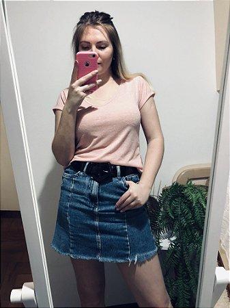 Blusa Decote V Rosa