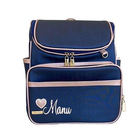 Mochila Maternidade Bag Azul Marinho com Rose Gold