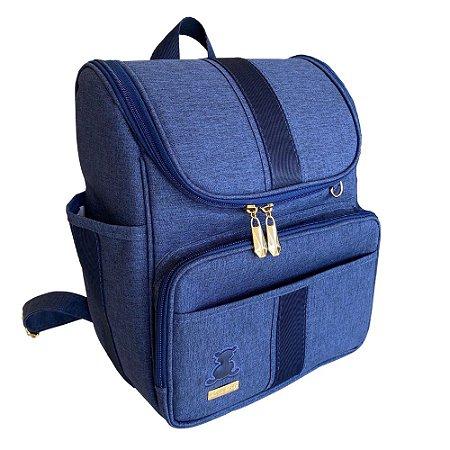 Mochila Maternidade Bag Linho Azul Marinho