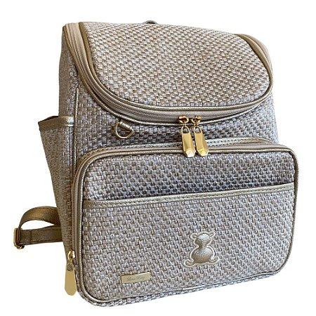 Mochila Maternidade Bag Palha com Ouro