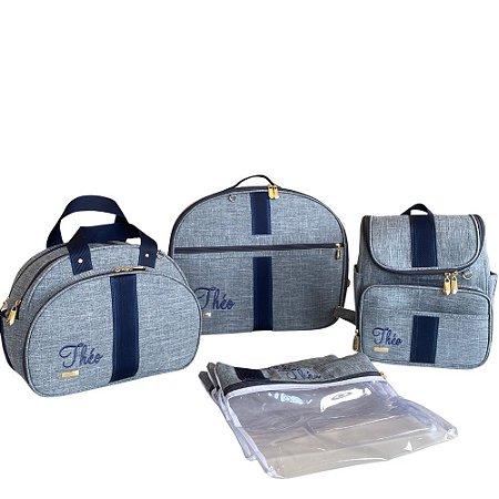 Kit Maternidade Linho cinza com azul marinho Personalizado