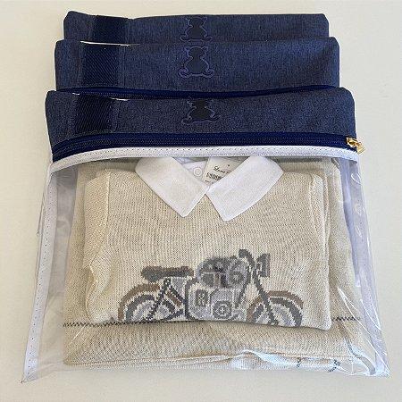 Kit Saquinhos Maternidade Linho Azul