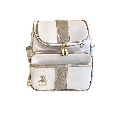 Mochila Maternidade Bag Bege com Ouro