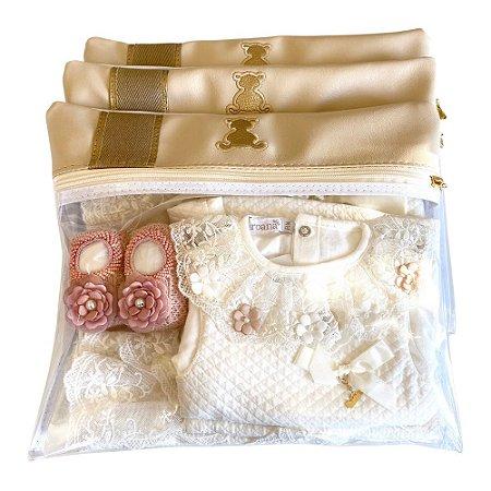 Kit de Saquinhos Maternidade Bege com Ouro