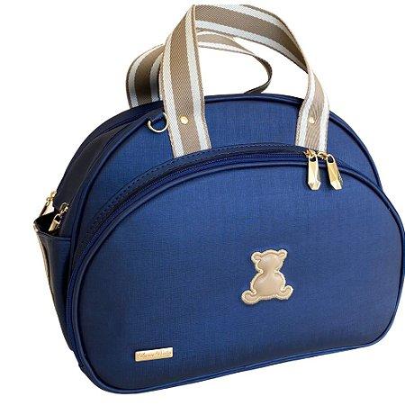Bolsa Maternidade Média Azul Marinho com Bege