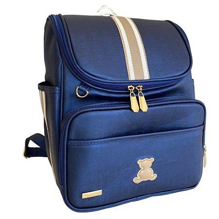 Mochila Maternidade Bag Azul Marinho com Bege