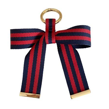 Chaveiro Laço de Fita Bicolor (vermelho e azul)