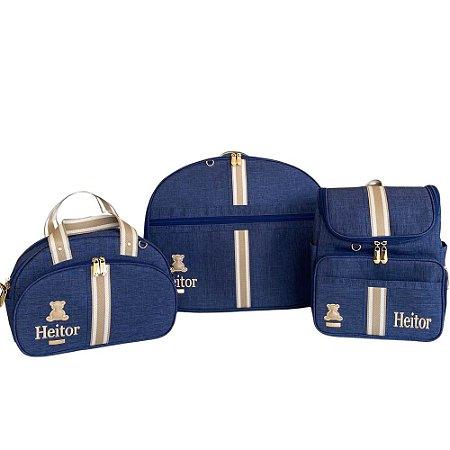 Kit Maternidade Linho Azul Marinho com Fita Bicolor Bege