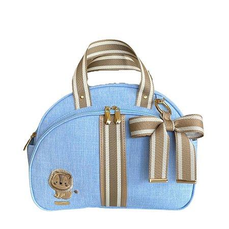 Bolsa Maternidade Média Linho Azul Bebê com fita bicolor bege - Leãozinho