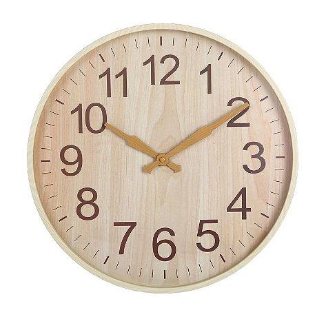 Relógio de parede Amadeirado Bege 45CM