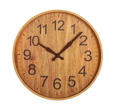 Relógio de parede Amadeirado Marrom Claro 45CM