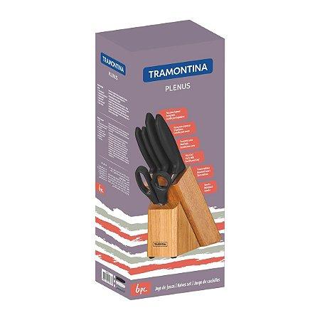 Jogo de Facas Tramontina Plenus com Lâminas em Aço Inox Cabos de Polipropileno Preto e Suporte de Madeira 6 Peças 23498/015