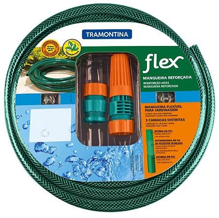 Mangueira Flex Tramontina Verde em PVC 3 Camadas 10 m com Engates Rosqueados e Esguicho 79172/100