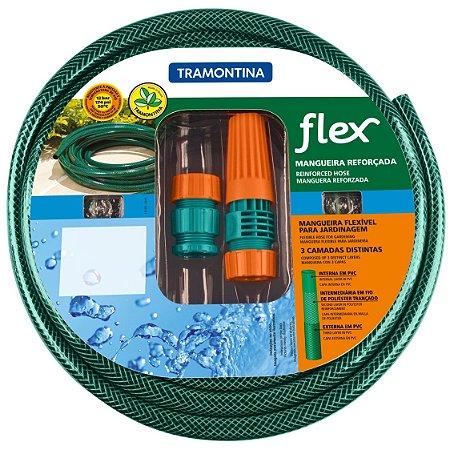 Mangueira Flex Tramontina Verde em PVC 3 Camadas 15 m com Engates Rosqueados e Esguicho 79172/150