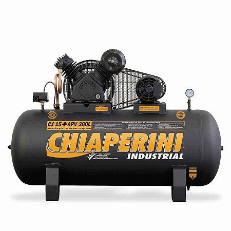 Compressor de ar alta pressão 15 pcm 200 litros - Chiaperini CJ 15+ APV 200L Mono