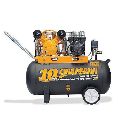 Compressor de ar média pressão 10 pcm 110 litros Bivolt - Chiaperini 10SS 110L