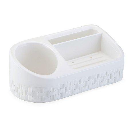 Porta Sabão/Detergente/Esponja Rattan Branco Nitron 133/B