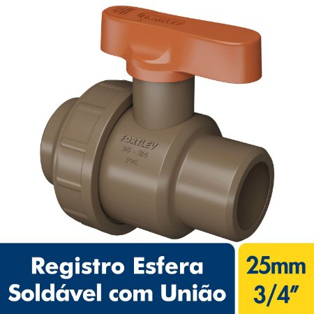 Registro Esfera Soldável com União 25mm Ou 3/4'' Marrom PVC Fortlev
