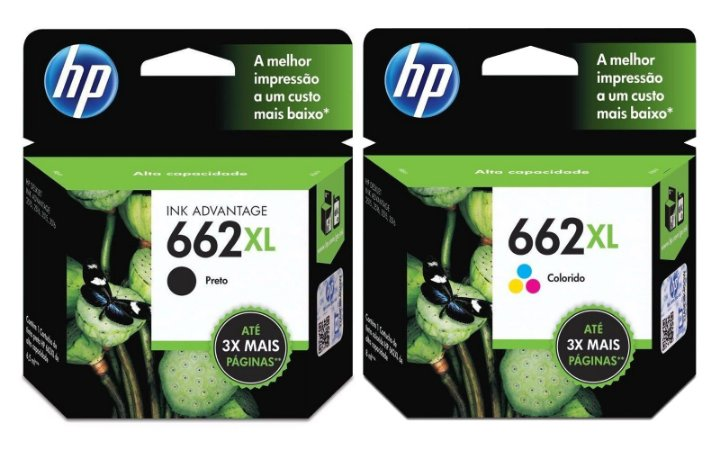 KIT Cartucho HP 662xl Preto e Colorido