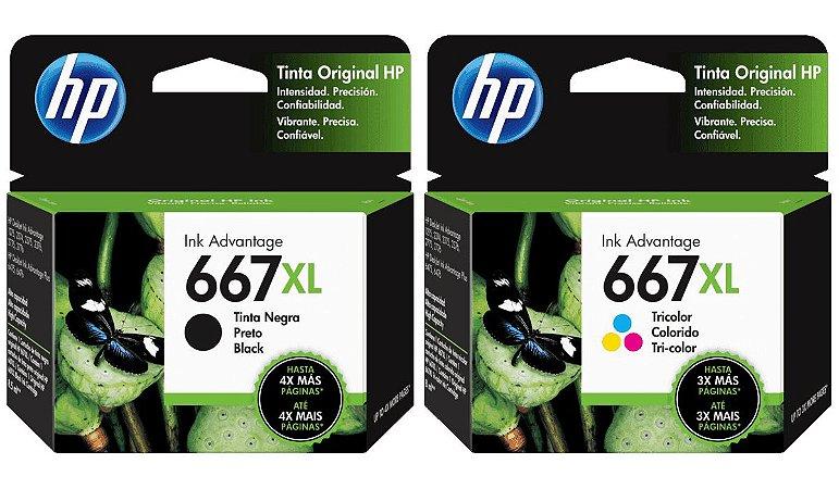 Kit Cartucho HP 667XL Preto e Colorido