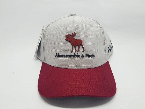 Boné Abercrombie & Fitch - Velcro - Aba curva - Cinza e vermelho