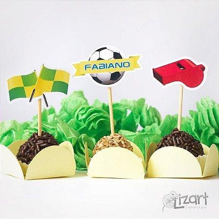 Mini Toppers personalizados futebol - 30 unid