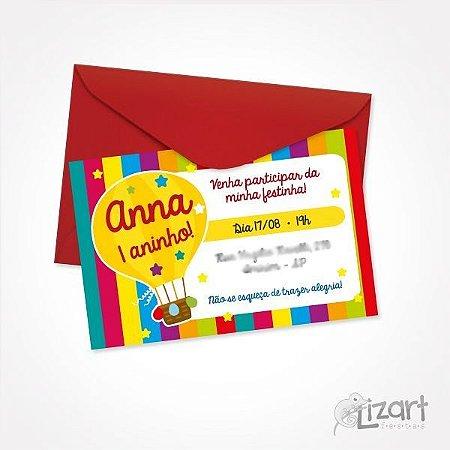 Convite Personalizado Alegria - 10 unid