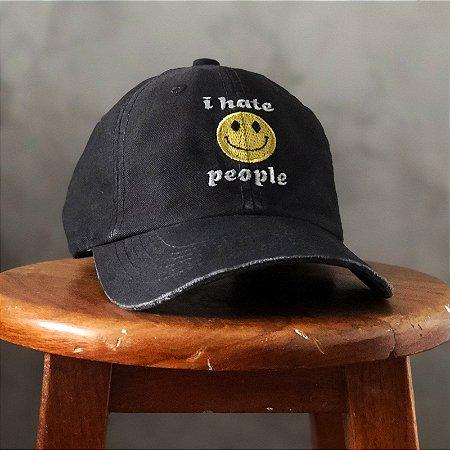 Boné Aversion Dad Hat Aba Curva Preto Estonado - Model Hate