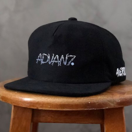Boné Aversion Collab Advan7 Snapback Desestruturado Aba Reta Preto - Model Arame
