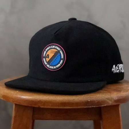 Boné Aversion Collab Advan7 Snapback Desestruturado Aba Reta Preto - Model Corre Sports Club