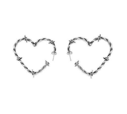 Brinco Coração Arame Farpado - Prateado