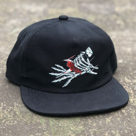 Boné Aversion Snapback Desestruturado Aba Reta Preto - Model Dagger