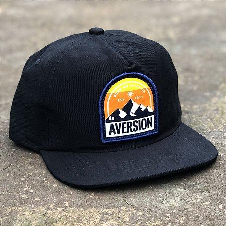 Boné Aversion Snapback Desestruturado Aba Reta Preto - Model Mountain
