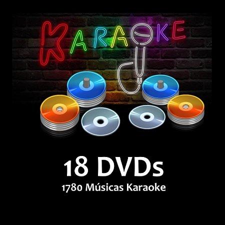 18 DVDs - 1760 Musicas Karaoke Nacionais