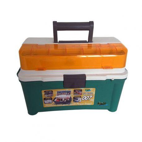 Maleta de Pesca com 3 Estojos e Compartimento Ajustáveis Pesca Brasil PB Box 007