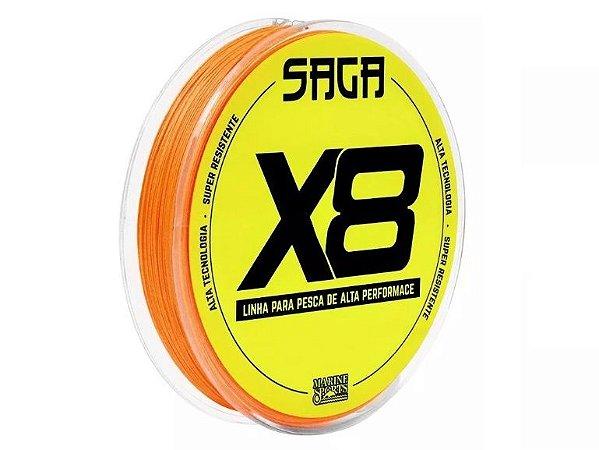 Linha Multifilamento 8X 8 Fios 150m Laranja Saga X8 - 0,19mm