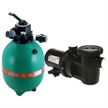 Filtro p/ piscina Dancor DFR-15 com bomba de 1/3CV monofásica 110V/220V