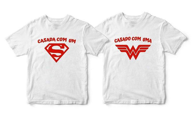 Kit Camisetas Casada com Herói - Tamanhos P/P