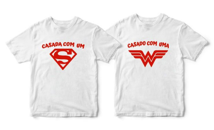Kit Camisetas Casada com Herói - Tamanhos P/M