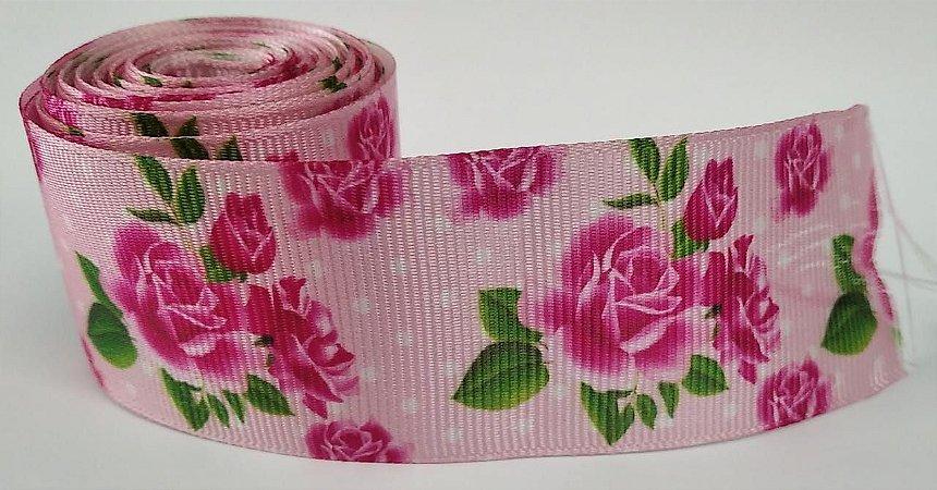 Fita de Gorgurão Floral Rosa Poá