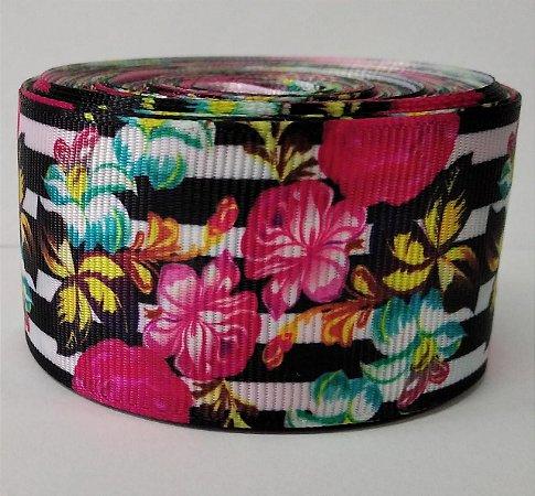 Fita de Gorgurão Floral Black 4321