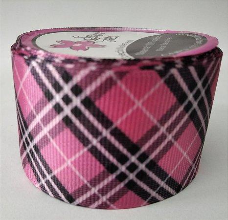 Fita de Gorgurão Xadrez Escocês Rosa 10249