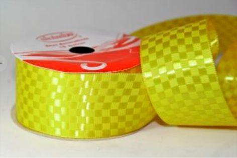 Fita Cetim Quadriculada Sinimbu n°9 (38mm) - 05 Amarelo Ouro