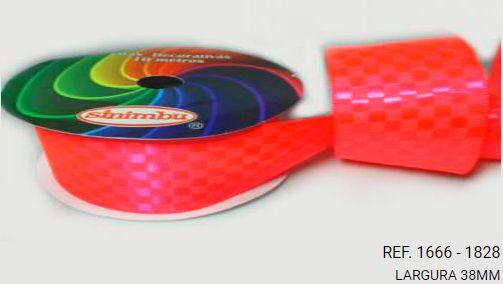 Fita Cetim Quadriculada Sinimbu n°9 (38mm) - 1828 Rosa Fluorescente