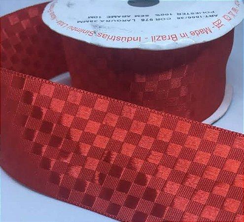 Fita Cetim Quadriculada Sinimbu n°9 (38mm) - 976 Vermelho