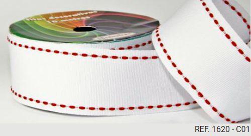 Fita Decorativa Pesponto n°9 SINIMBU - 01 Branco c/ Vermelho