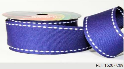 Fita Decorativa Pesponto n°9 SINIMBU - 09 Azul Marinho c/ Branco
