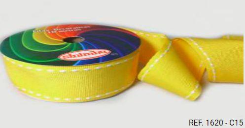 Fita Decorativa Pesponto n°9 SINIMBU - 15 Amarelo c/ Branco